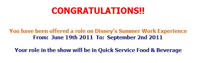 So I got the job at Disney World Florida.. ♥