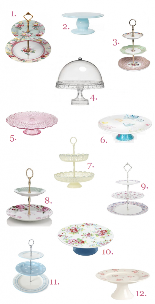 12 Pretty Cake Stands for Under £25 each.. ♥