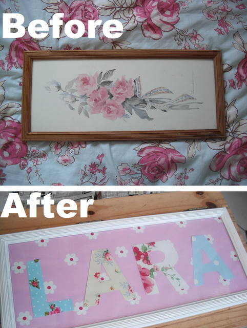 DIY Little Girls Floral Name Frame.. ♥