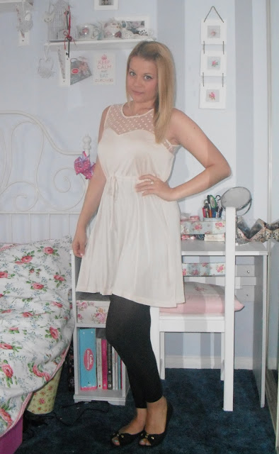 OOTD 27/6/12 – Nude Mesh Bodice Dress.. ♥