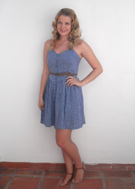 Holiday OOTD Day #2 – Blue Heart Print Sun Dress.. ♥