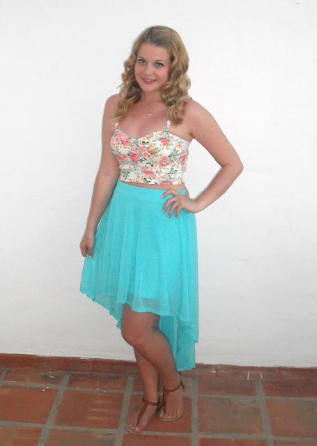 Holiday OOTD Day #3 – Aqua Dipped Hem Skirt + Floral Bralet.. ♥