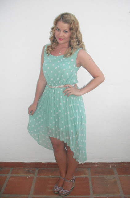 Holiday OOTD Day #6 – Dipped Hem Polka Dot Dress.. ♥