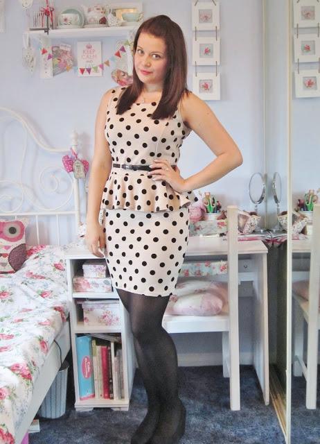 Polka Dot Peplum Dress from Krisp ♥