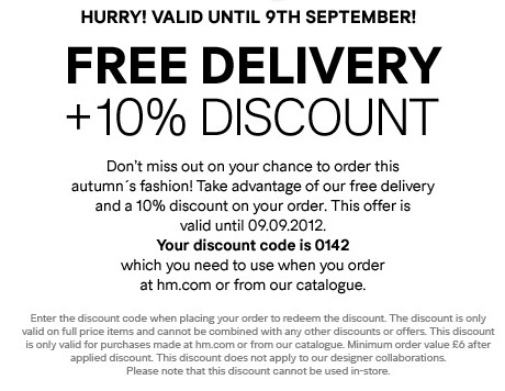 Quick Huge H M Discounts Free Delivery 10 Off Save 5