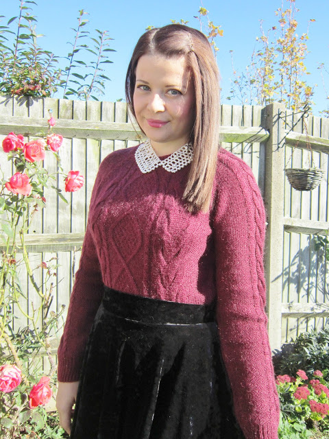 OOTD 07/10/12 – Vampy Velvet Skirt & Suede Lace Up Wedge Boots ♥