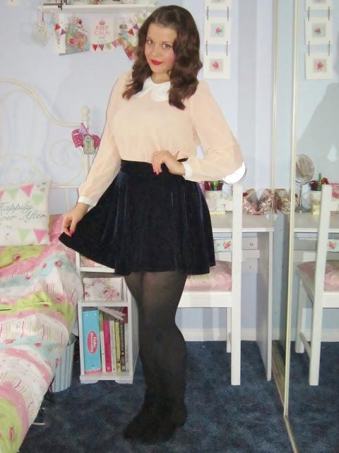 Peter Pan Blouse u0026 Blue Velvet Skirt from OASAP u2665 | Victoriau0026#39;s Vintage Blog