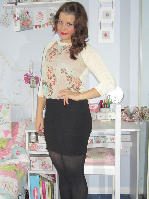 Fashion from She Inside: Cat Print Blouse, Red Velvet Skirt & Floral Sweater ♥