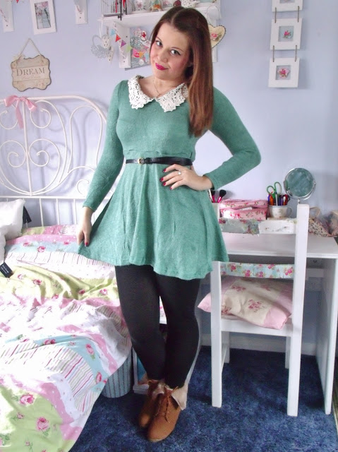 Lace Collar Dress & Fur Cuff Wedge Boots from Mart of China ♥