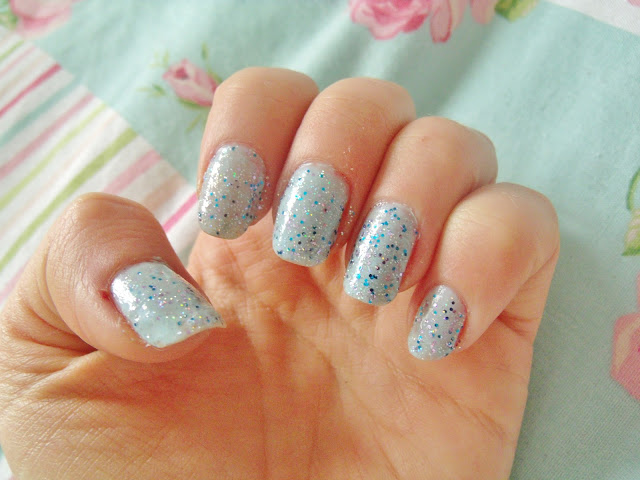 Barry M Blue Moon Ice Blue Glitter Nails  ♥