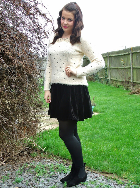 Sequin Collar Polka Dot Jumper OOTD from Chiara ♥