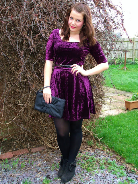 New Look Sale Buys Outfit: Purple Velvet Dress ♥