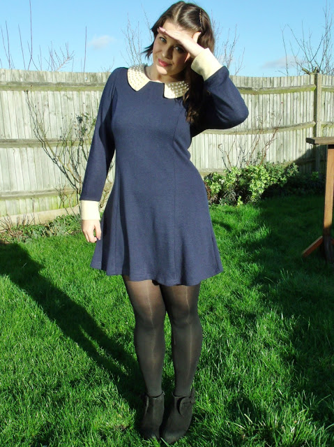 Pretty Navy Blue Pearl Collar Dress OOTD ♥