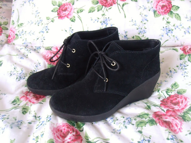 Melody Black Suede Wedge Boots from Clarks ♥