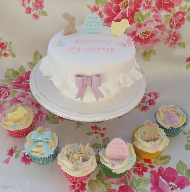Frilly Happy Easter Cake & Cupcakes ♥