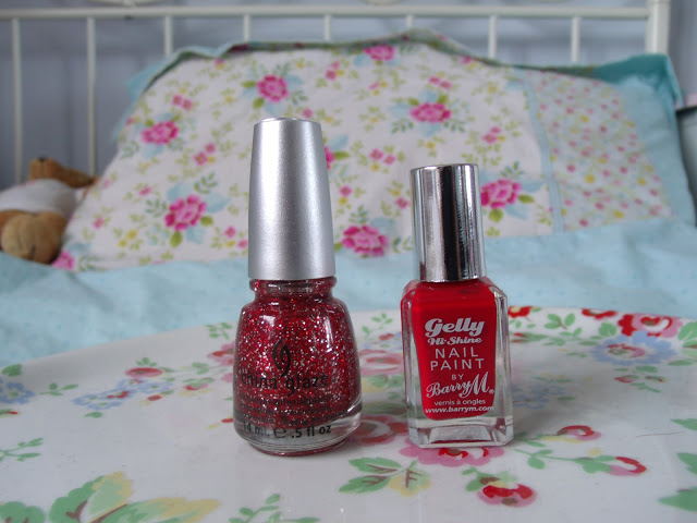 Barry M Gelly Hi-Shine Nail Paint in Blood Orange and Greenberry ♥