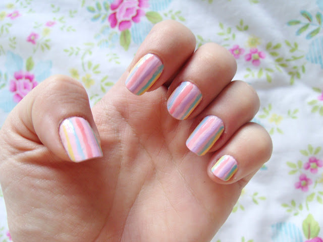 Pastel Candy Stripe Nails ♥