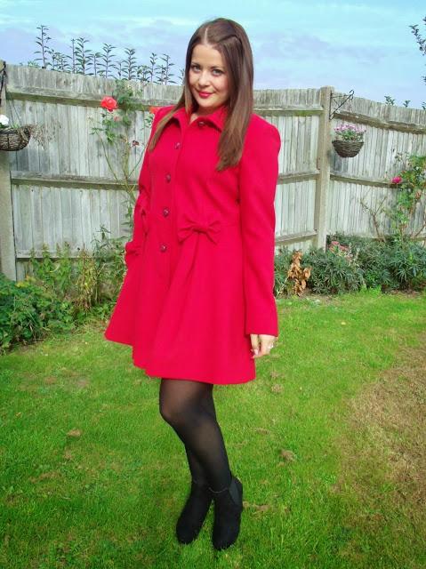 Miss Selfridge Red Bow Coat ♥