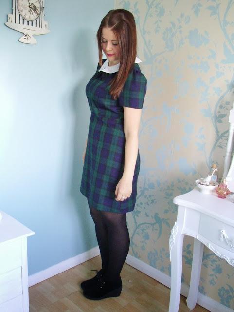 Primark Tartan Collar Dress OOTD ♥