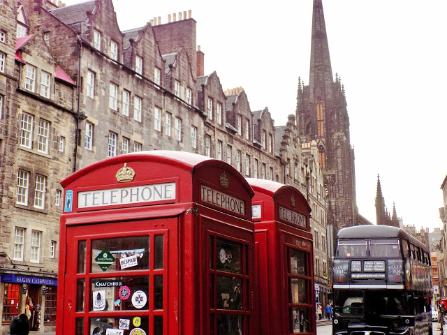 Edinburgh city centre street with red phone box