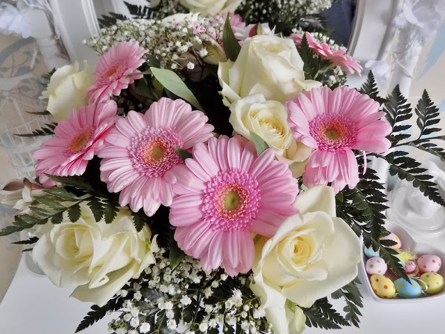 Beautiful bouquet of Mothers Day flowers with roses and gerbras