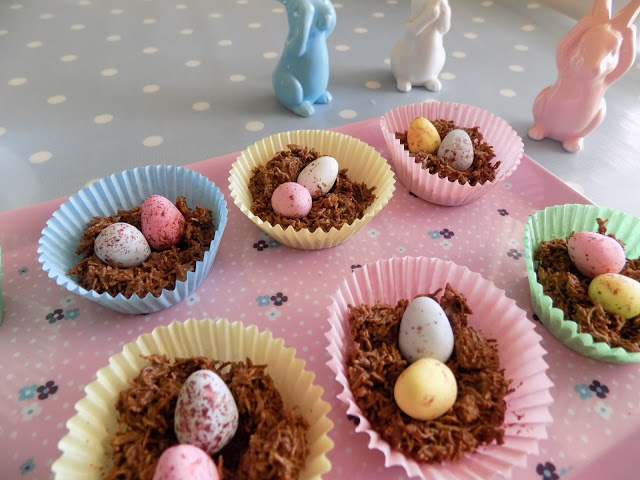 Pretty pastel coloured easter baking chocolate nests