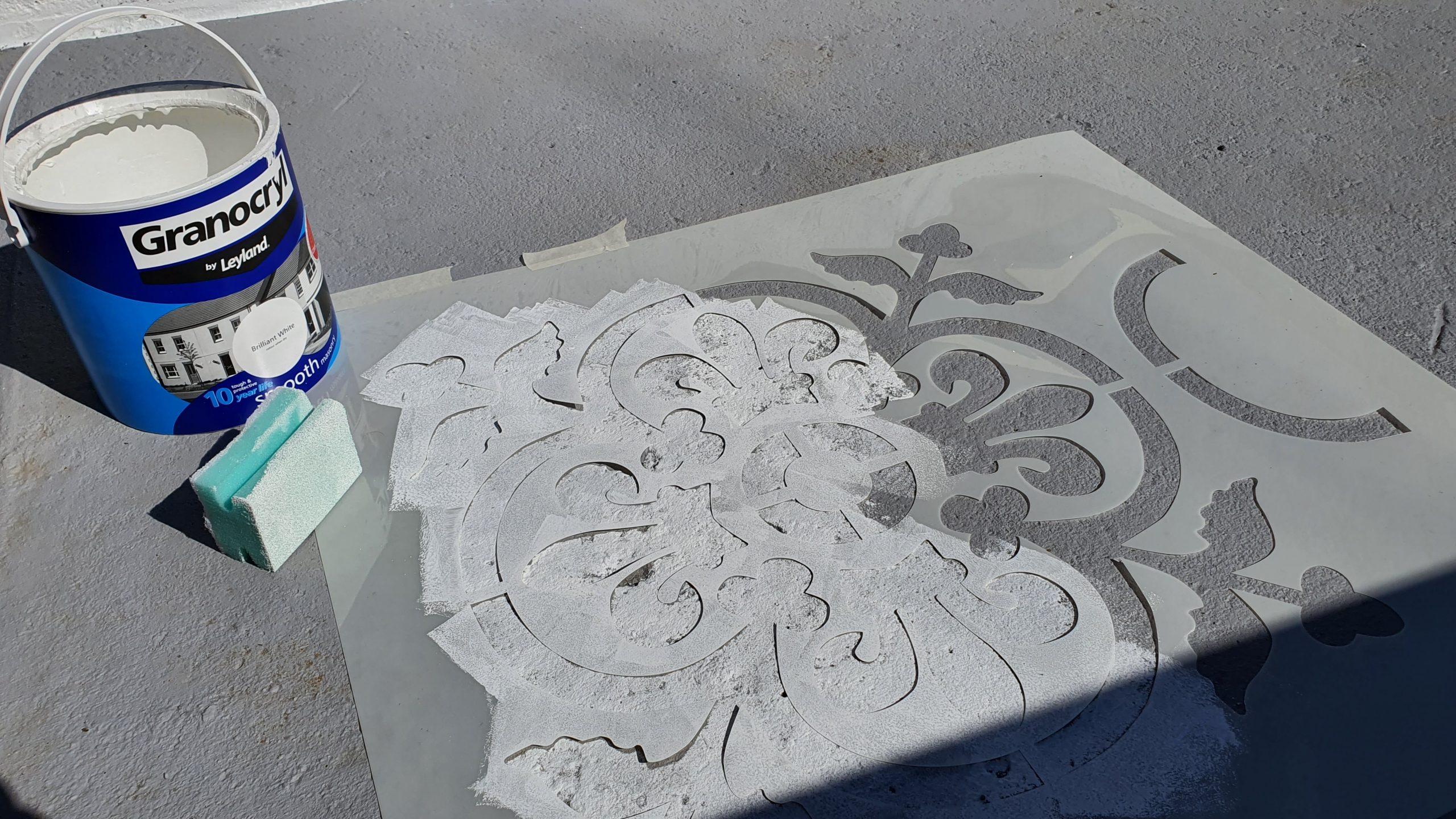 How to Stencil a Concrete Patio & My Garden Makeover